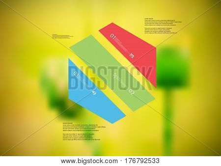 Illustration infographic template with motif of hexagon askew divided to three color standalone sections. Blurred photo with natural motif of green poppy plants is used as background.