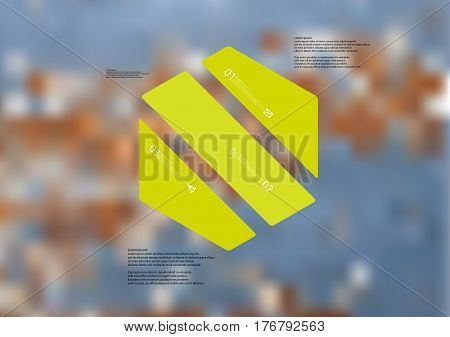 Illustration infographic template with motif of hexagon askew divided to three green standalone sections. Blurred photo with texture motif of worn wooden board is used as background.