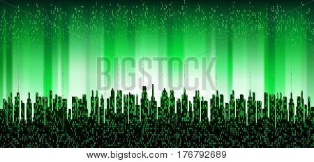 The city online. Abstract futuristic digital city, cloud service connected, skyline background