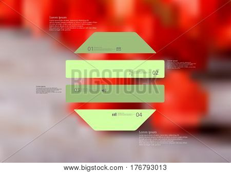 Illustration infographic template with motif of octagon horizontally divided to four green standalone sections. Blurred photo with natural motif with red blooms is used as background.