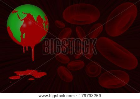 3D.Ilustration.  World Haemophilia day 17 April. Earth globe dripping with blood and blood cells