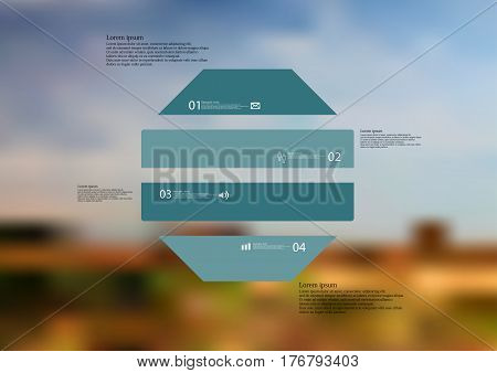 Illustration infographic template with motif of octagon horizontally divided to four blue standalone sections. Blurred photo with natural motif landscape with cloudy sky is used as background.