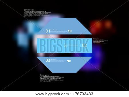 Illustration infographic template with motif of octagon horizontally divided to three blue standalone sections. Blurred photo with colorful game dices motif on black board is used as background.