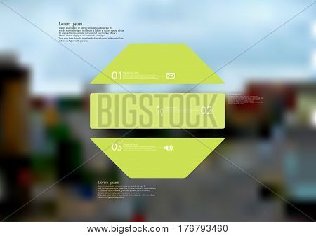 Illustration infographic template with motif of octagon horizontally divided to three green standalone sections. Blurred photo with city motif with crossroad of streets is used as background.