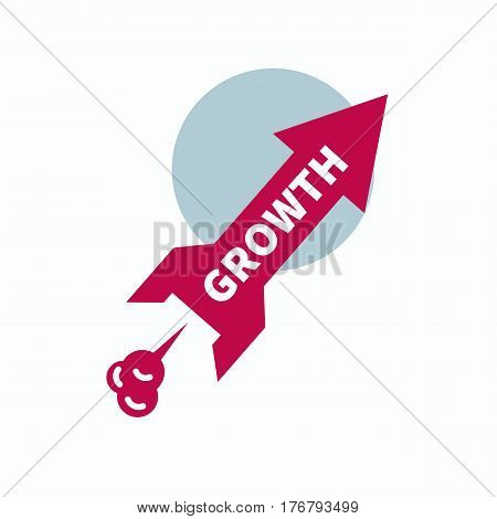Icon start up, growth. Rocket in  form of red arrows taking off into space. Vector illustration.