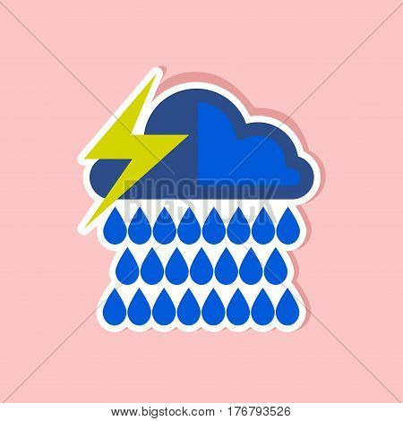 paper sticker on stylish background thunderstorm rain cloud