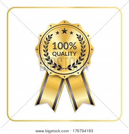 Award Ribbon Gold Icon Laurel Wreath Quality