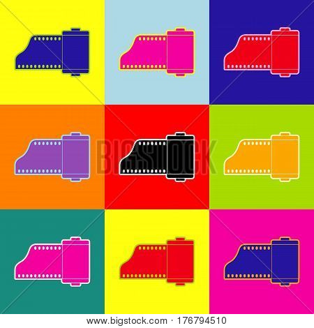 Foto camera casset sign. Vector. Pop-art style colorful icons set with 3 colors.