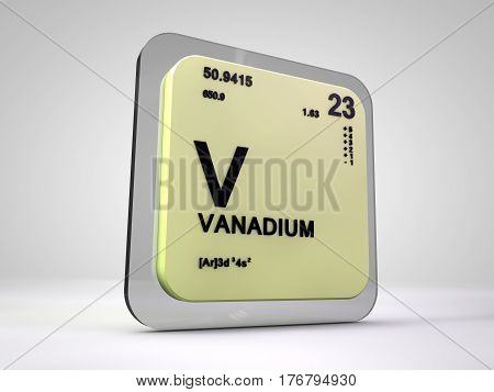 Vanadium - V - chemical element periodic table 3d render
