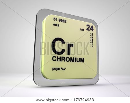 Chromium - Cr - chemical element periodic table 3d render