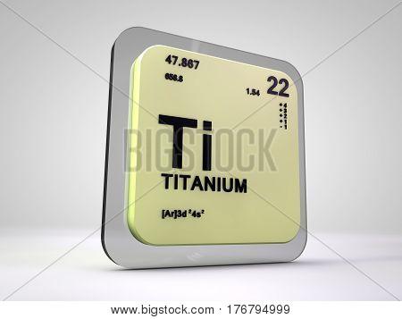 Titanium - Ti - chemical element periodic table 3d render