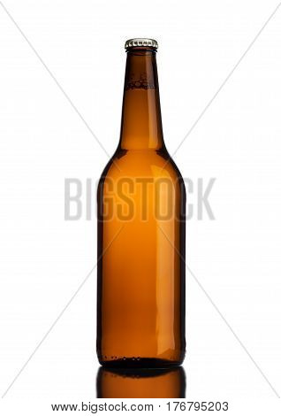 Brown Glass Beer Bottle With Yellow Cap On White