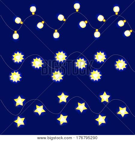 Light garlands, background with yellow glowing lights on blue background. Illustration.