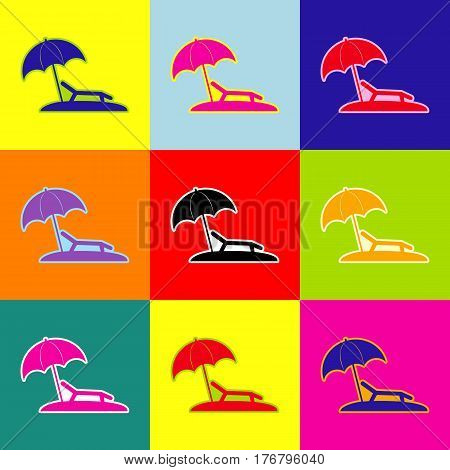 Tropical resort beach. Sunbed Chair sign. Vector. Pop-art style colorful icons set with 3 colors.