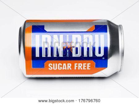 London, Uk - March 15, 2017: Can Of Sugar Free Irn-bru Lemonade Soda Drink On White. Produced By Bar