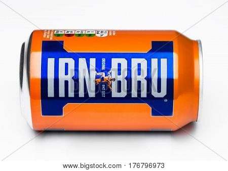 London, Uk - March 15, 2017: Can Of Irn-bru Lemonade Soda Drink On White. Produced By Barr In Scotla