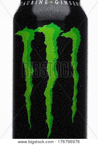 London, Uk - March 15, 2017:  A Can Of Monster Energy Drink On White. Introduced In 2002 Monster Now