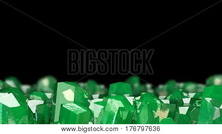 Crystal stone macro mineral. Emerald crystals on black background. 3D illustration