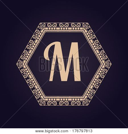 Simple and elegant monogram design template for letter M vector illustration. Emblem logo vintage design ornament elegant frame. Decorative art calligraphic invitation element.