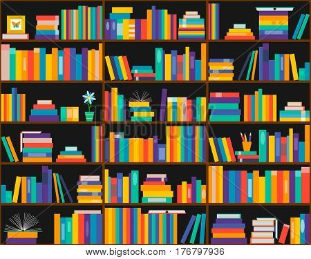 Books on shelves seamless pattern. Bookcase library. Vector illustration. Education training literature. Flat design.