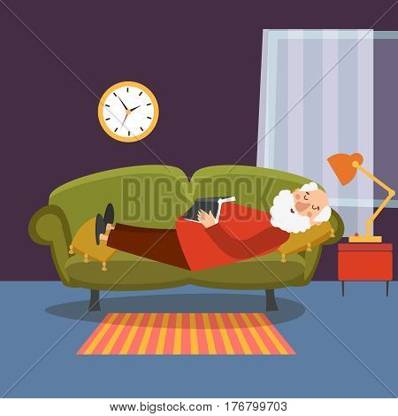 Old man sleeping on sofa with book. Elderly man relaxing home or grandfather resting vector illustration. Pensioner resting in room
