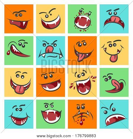 Colorful emoticon faces vector illustration. Cute mood icons or facing emoticons. Expression mood face with mouth illustration