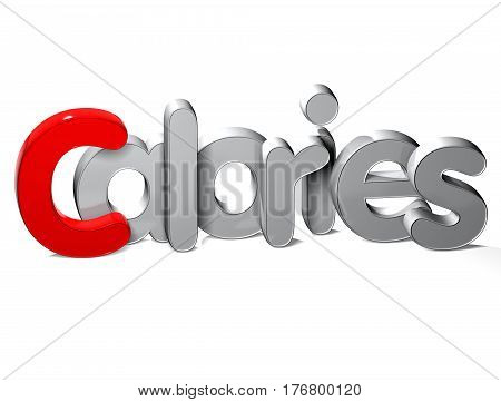 3 D Word Calories over white background.