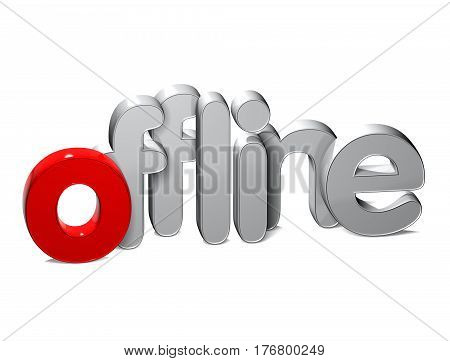 3 D Word Offline over white background.