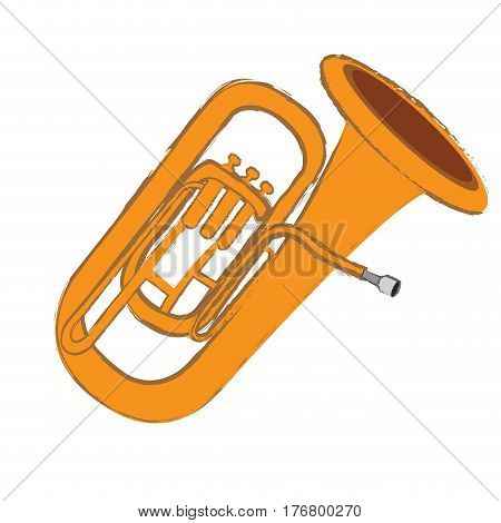 Isolated tuba instrument on a white background, Vector illustration