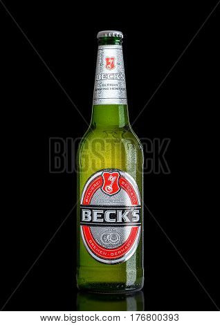 London, Uk - March 15, 2017: Bottle Of Becks Beer On Black Background. Becks Brewery Was Founded In