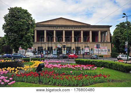 BRASOV ROMANIA - MAY 6: Dramatical theater building in city centre of Brasov on May 6 2016. Brasov is a capital of Transylvania province of Romania.