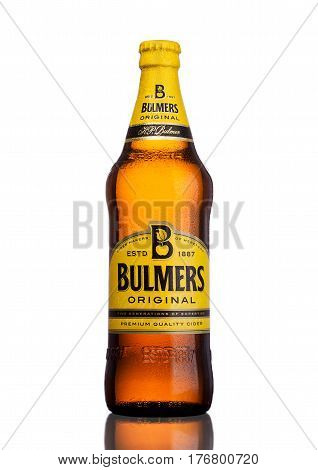 LONDON UK - MARCH 15 2017: Bottle Of Bulmers Original Cider on a white background with reflection. It is one of the leading British cider brands in the UK