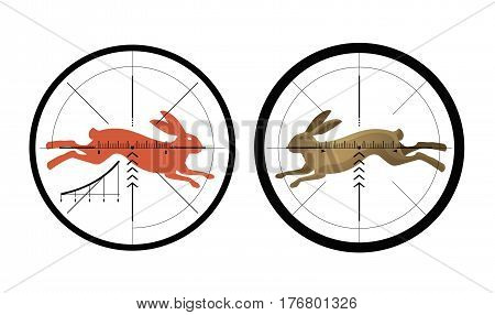 Hunting icon. Reticle, crosshair. Target symbol. Vector illustration isolated on white background