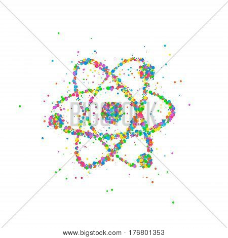 Abstract nucleus of an atom splash multicolored circles. Vector illustration.