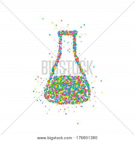 abstract test tube flask splash multicolored circles. Vector illustration.
