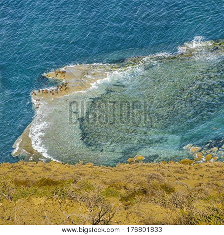 Aerial View Atlantic Ocean Chubut Argentina