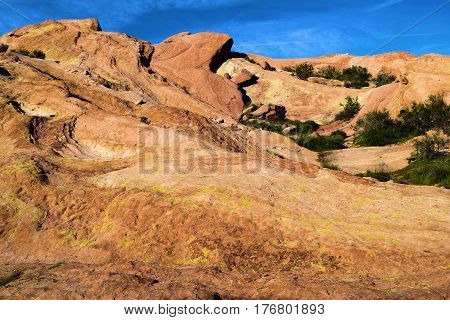 Rock formations formed from the San Andreas Fault taken at Vasquez Rocks in the Mojave Desert, CA