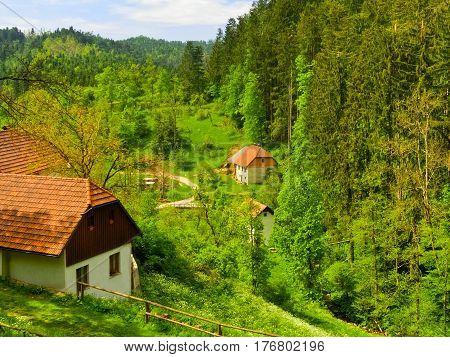 Farm houses in the mountain area near Postojna at Slovenia