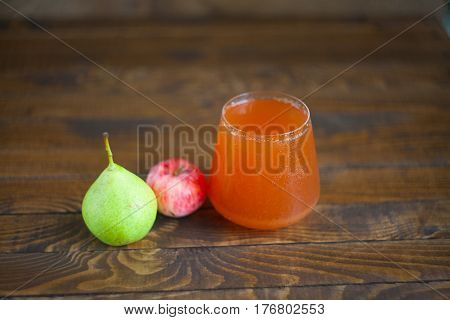 Delicious Fresh Squeezed Apple-pear Juice In  Transparent Glass