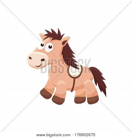 Adorable pony illustration. Cute cartoon animal isolated on white background.
