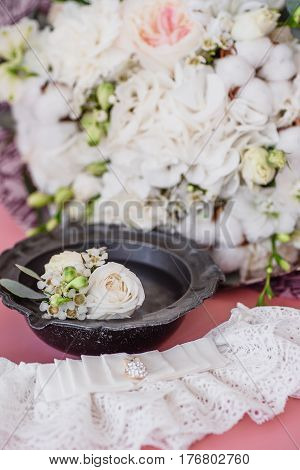on bride bouquet background, white flowers lace
