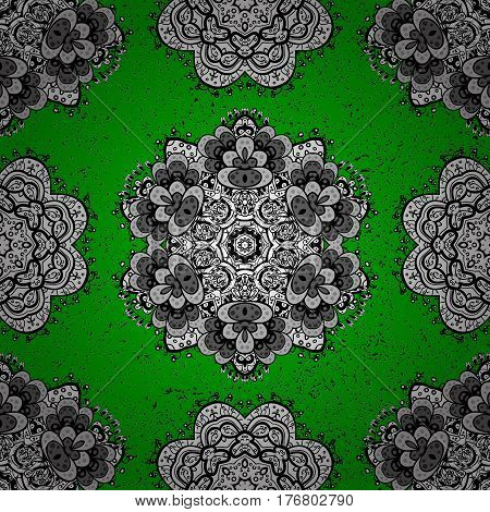 Classic vector white pattern. Vector illustration. Pattern on green background with white elements. Classic vintage background. Traditional orient ornament.