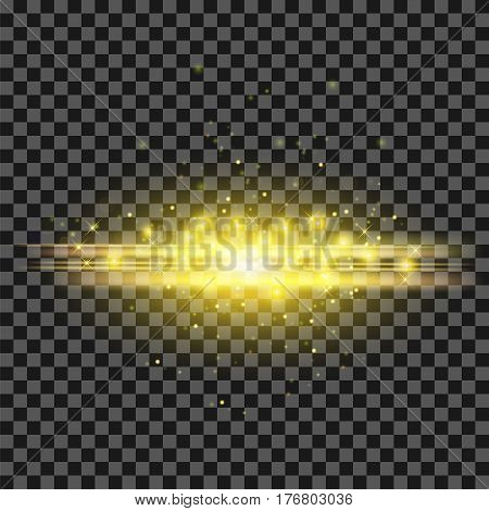 Starry Light Background. Yellow  Glowing Lines. Speed Motion Effect. Sparcle Glitter Trail