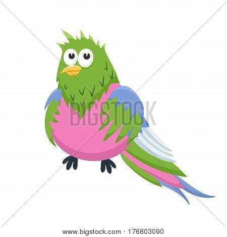 Adorable parrot illustration. Cute cartoon animal isolated on white background.