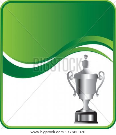 elaborate trophy on green wave background