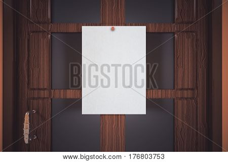 Blank white paper sheet pinned to wooden door. Mock up Information concept. 3D Rendering