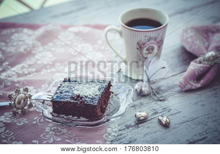 Brownie Cake And Coffe Vintage Style 1