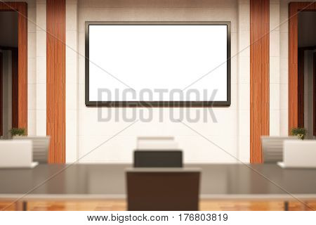 Blurry conference room with blank picture frame/whiteboard. Workshop concept. Mock up 3D Rendering