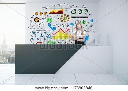 Attractive caucasian girl at reception desk in concrete interior with creative business sketch and city view. Communication concept. 3D Rendering