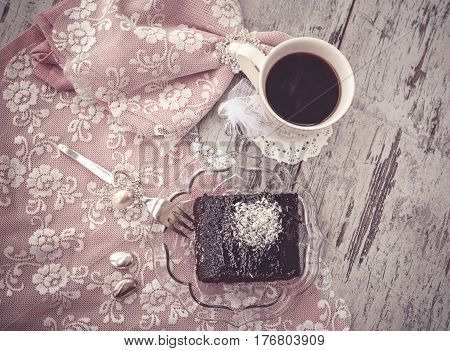 Brownie Cake And Coffe Vintage Style Above View